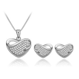 Other NEW - 18K White Gold Plated Crystal Inlay Heart Jewelry Set
