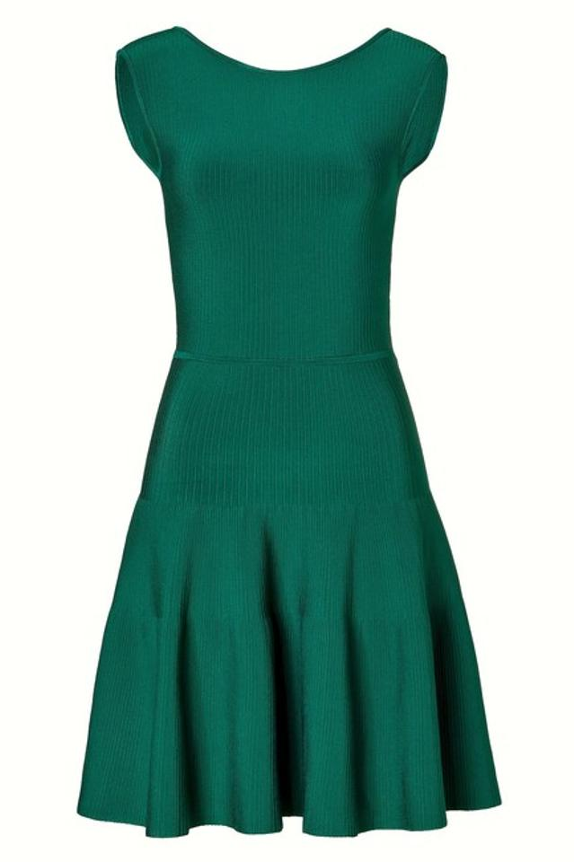 2b2f3070f21 ISSA London Green Rayon Ribbed Knit A-line Short Cocktail Dress Size ...