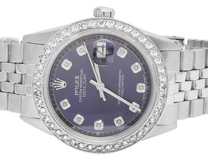 Rolex Mens Datejust 36MM Oyster Perpetual Blue Dial Diamond Watch 2.5 Ct