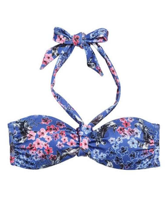 H&M Bikini Set Top/Bottom Bandeau Halter Pin-up Floral