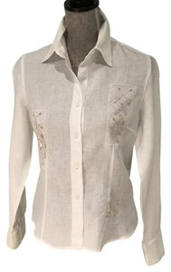 Willi Smith White Embellished Linen Small Button Down Shirt White Embellished