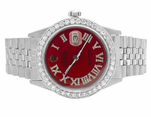 Rolex Mens Datejust 36MM Oyster Perpetual Red Dial Diamond Watch 3.5 Ct