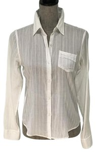 American Eagle Outfitters Small Sheer Summer Button Down Shirt White