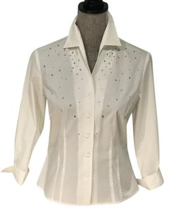 Nine West White Small Embellished Summer Button Down Shirt White Crystal-Embellished