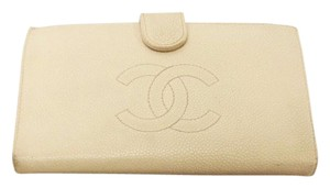 Chanel Sale-CHANEL Beige Long Bifold Wallet Caviar Skin Leather