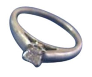Other 18KT Princess Cut Diamond Solitaire Ring .38Ct AGS