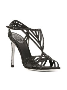 Rene Caovilla Kid Strass Satin Suede Crystal Black Pumps