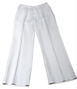 Calvin Klein Linen Size 6 Flare Pants White Embroidered