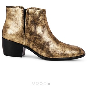 Giuseppe Zanotti Gold Brushed Cuban Heel Bootie Shoes