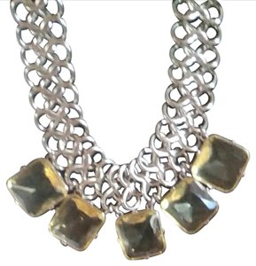 Chico's Non tarnish heavy metal with 5 (1 in square CITRINE FACETED ENCASED GEMS)