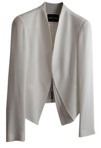 Emporio Armani Pleated Front Flap Polyester Button Italian Off White Blazer