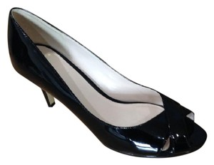Cole Haan Patent Open Toe black Pumps