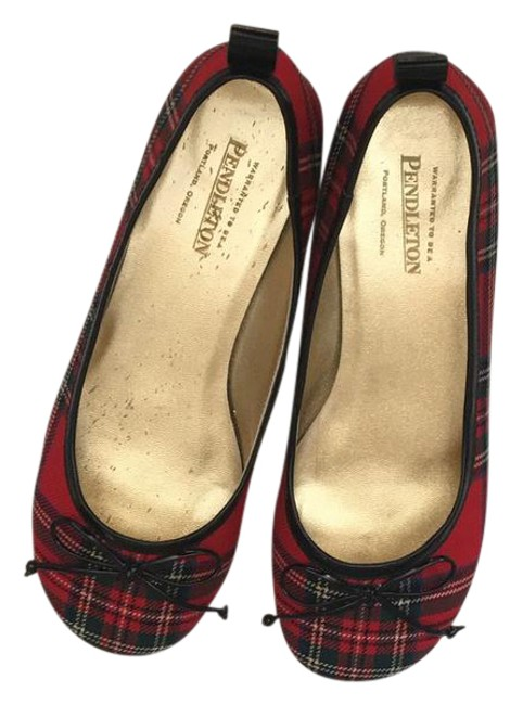 Item - Red Tartan Flats Size US 7 Regular (M, B)
