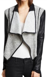BlankNYC Drape Vegan Wool Moto Leather Black and gray Leather Jacket