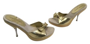 Chinese Laundry Stilettos Front Bow NEW Gold slip on wood platform silver metal heels mules Mules