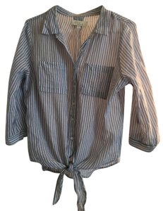 Olive + Oak Tie Striped Cotton Button Down Shirt blue and white