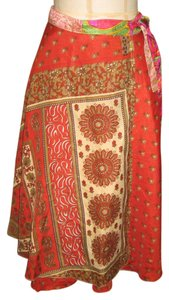 urban NOMAD Vintage Silk Wrap Reversible Layered Skirt Shades of Red and Burnt Amber