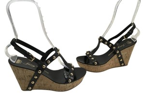 Juicy Couture Hardware Base Black T and ankle straps gold metal half domes cork open toe Wedges