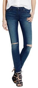 Madewell Destructed Ripped Knee Medium Wash Denim Skinny Jeans-Distressed