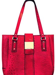 Franco Sarto Red Leather Tote in Sangria Red