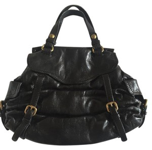 Kooba Strappy Leather Gold Hardware Satchel in Black