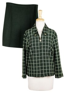 St. John 2-Pc Set Career Skirtsuit Skirt Jacket Green Plaid