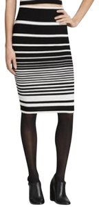 Aqua Striped Pencil Textured Bloomingdales Bodycon Skirt Black and White