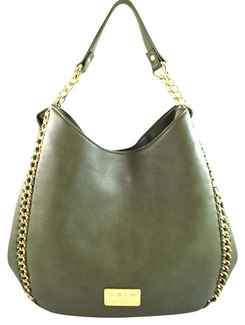 Item - Colette Triple Entry Green Burnt Olive Faux Leather Tote
