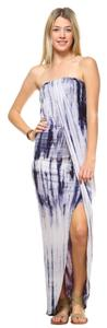 Navy Blue and White Maxi Dress by York Couture