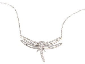 Tiffany & Co. Platinum Diamond Dragonfly Pendant Necklace w/ Pouch