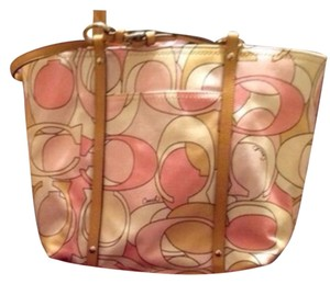 Coach Tote in pink, tan, white