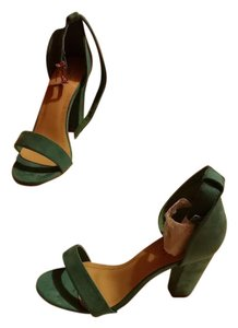 Cape Robbin Open Toe Ankle Strap Suede Turquoise Pumps