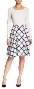 Amanda + Chelsea Stripes Circle Zipper Skirt White and Black
