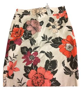 Ann Taylor Pencil Floral Petite Skirt Beige, orange, berry, pink