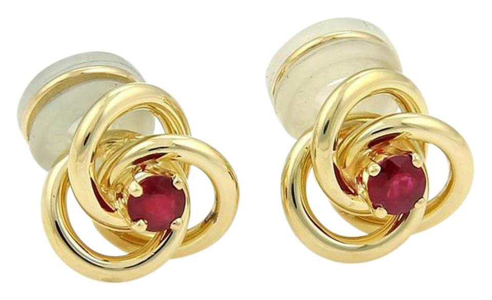 gold rose love knot rope earrings polished