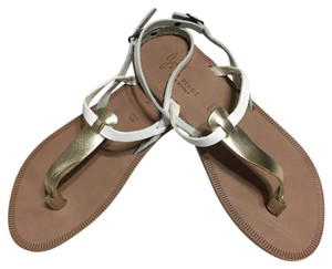 Joie White and gold Sandals