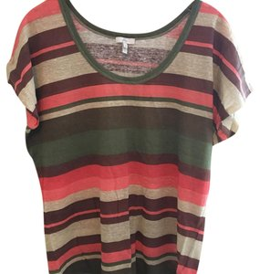 Joie T Shirt red, green, tan, brown