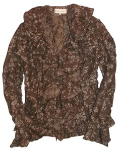 Anne Fontaine France Floral Top Brown