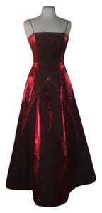 Morgan & Co Prom Beaded Trim Long Tie Back Evening Gown Dress