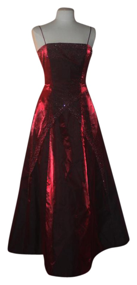 Morgan & Co Deep Red / Cranberry Shimmery Evening Gown Beaded ...