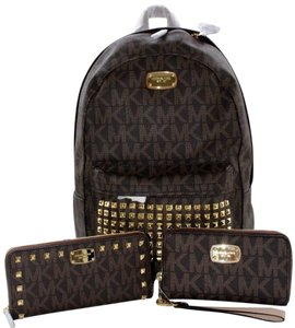 Michael Kors Mk Travel Backpack Studded Mk Wallet Wristlet Brown Travel Bag