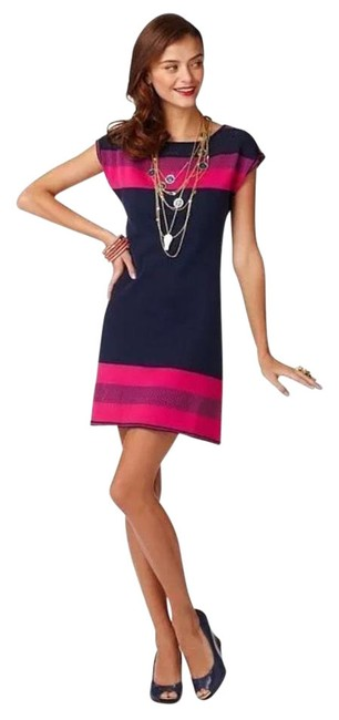 """Item - Navy Pink Light Purple """"Kinley"""" -color Block Sweater Short Cocktail Dress Size 0 (XS)"""
