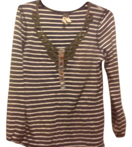 MM Couture M+m+ Long Sleeve Tee Like New Lace Overlay Top Gray and white strip, with green lace.trim