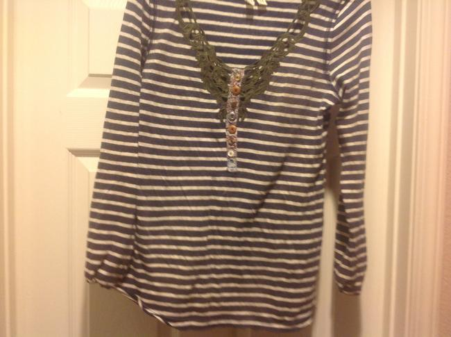 MM Couture M+m+ Long Sleeve Tee Like New Lace Overlay Top Gray and white strip, with green lace.trim Image 10
