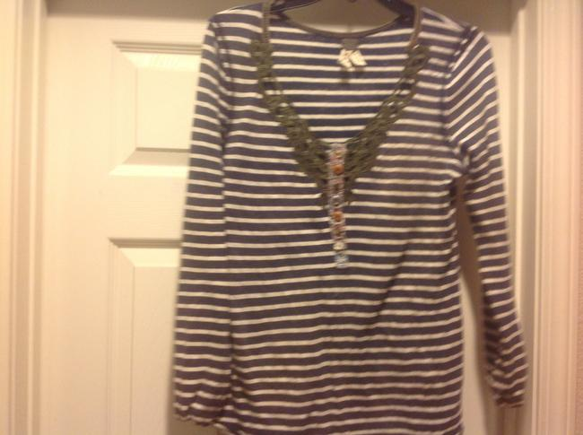 MM Couture M+m+ Long Sleeve Tee Like New Lace Overlay Top Gray and white strip, with green lace.trim Image 11
