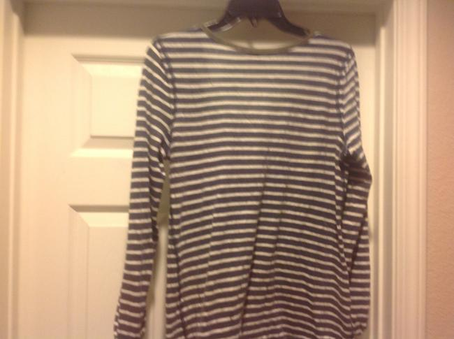 MM Couture M+m+ Long Sleeve Tee Like New Lace Overlay Top Gray and white strip, with green lace.trim Image 4