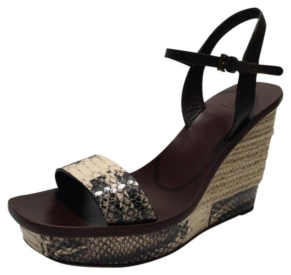 2cfa8805a4e56 Tory Burch New Malaga Snake Embossed Leather Platform Sandals Wedges ...