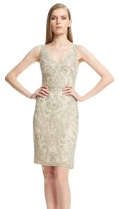 Theia V-neck Beaded Evening Dress