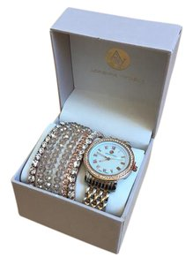 Adrienne Vittadini AD1057T165-967 Rose Gold and Silver Two Tone Watch and Bracelet Set