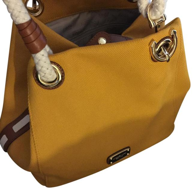 Item - Rope Straps/Gold Hardware Golden Yellow Canvas and Leather Beach Bag